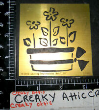 POT OF FLOWERS BRASS LASTING IMPRESSIONS DRY EMBOSS STENCIL TEMPLATE #4