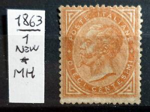 ITALY REGNO 1863 DE LA RUE IL 10 CENT NUOVO - 1 STAMP NEW*