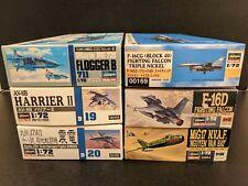 New ListingLot of six Niob 1/72 Hasegawa aircraft kits - F-16 MiG-17 MiG-23 Av-8B J7W1