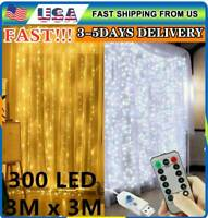 300 LED Curtain Lights String 3*3 M USB Powered Waterproof Twinkle Wall Light IR