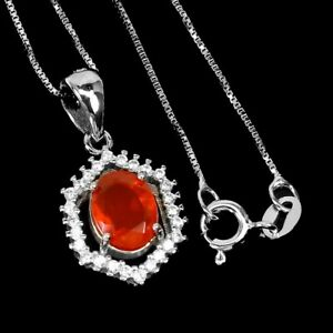 Oval Orange Fire Opal 7x5mm Cz White Gold Plate 925 Sterling Silver Necklace 16