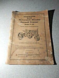 1935 International Harvester McCormick Deering Farmall Tractor F - 20 Manual