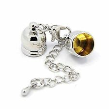 Kumihimo Bell End Caps + Lobster Claw Clasp & Ext Chain 5 Sets Silver FNCE6085
