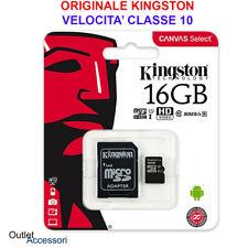 Memoria Memory Micro SDHC SD Kingston 16GB Classe 10 HD UHS-I Canvas Select SDCS