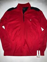 IZOD Men's Performance Wicking 1/4 Zip Pullover Red Navy Shirt Large NWT