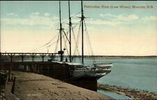 Moncton NB Petitcodiac River at High Water Ship at Dock c1910 Postcard #2