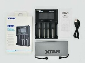XTAR VC4S QC3.0 4-Slot LCD USB Charger for 18650 26650 AA AAA C D Li-ion NiMH