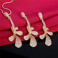 Fashion Chic Women's Jewelry Set 18K Gold Plated Mosaic Crystal Necklace Earring
