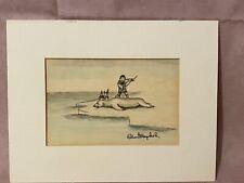 Robert Mayokok Alaska Inuit Eskimo Hunting Polar Bear Water Color Drawing