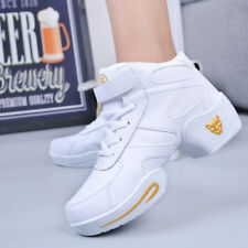 Women Heighten Genuine Leather Jazz Dance Shoes Soft Outsole Athletic Sneakers