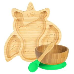 Children's Bamboo Unicorn Plate, Bowl, Spoon & Suction Cups Eco-friendly Green
