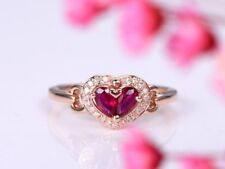 1Ct Pear Red Ruby Garnet Heart Shape Diamond Halo Engagement Ring Rose Gold Fnsh