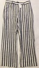 NWT JCREW $98 Cropped pant in striped linen Sz2 In Grey G2337 SOLDOUT!!