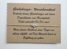 Wunscharmband make a wish Armband Freundschaft Liebe Glücksbringer Herz Beige