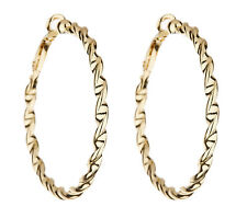 Clip On Hoop Earrings - gold earring hoops in a twisted rope design - Dawn G