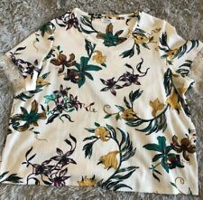 Marks And Spencer T-shirt UK 24 Ladies Woman's Clothing Winter Floral Top