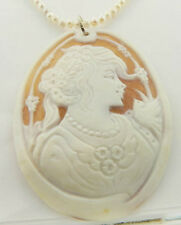 STERLING SILVER M+M SCOGNAMIGLIO CARVED SHELL CAMEO PENDANT WITH PEARL NECKLACE