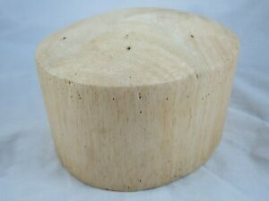 """Vtg Balsa Wood Hat Block Millinery Form Mold Oval Round Crown Straw Cover 21.5"""""""
