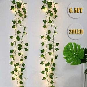 2M LED Artificial Green Leaf Vine String Fairy Lights Garland Wreath Party Home