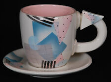 Vintage Rita Duvall Signed Postmodern Memphis Style Cup and Saucer Set From 1982