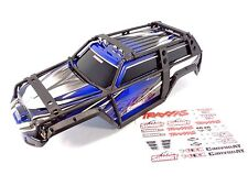 NEW TRAXXAS 1/10 SUMMIT BLUE / BLACK BODY SHELL WITH EXOCAGE & DECAL SHEET 5607