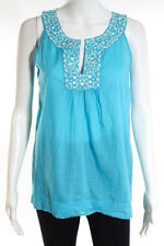 Calypso Turquoise White Embroidered Sleeveless Blouse Top Size Small