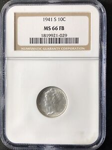 1941-S 10C FB Mercury Dime NGC MS66FB     1819921-029