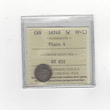 **1874H, Plain 4**, ICCS Graded Canadian,  5 Cent, **VF-30**