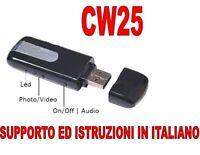 PENDRIVE SPIA U8 TELECAMERA USB SPY MICROCAMERA CIMICE VIDEOCAMERA FOTO CW25 A+