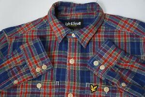 Men LYLE & SCOTT Flannel Lumberjack Thick Cotton Shirt Check Pattern Red Blue S