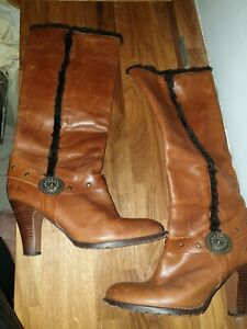 Pepe Jeans Brown Leather Shearling Knee High Boots Size 40 UK 7