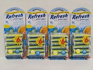 New Refresh Your Car AC Vent Stick Air Freshener Scent Eliminates Odor pack of 4