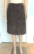 Ann Taylor sz 10 Dark Brown Suede w Pink Floral Embroidery Zip Pencil Skirt NWT