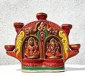 INDIA HINDU FOLK ART POTTERY CLAY CERAMIC LAKSHMI GANESHA ALTAR OIL LAMP DIWALI