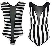 Womens Ladies Mesh Insert Style Black White Sleeveless Stripe Bodysuit Top 8-14