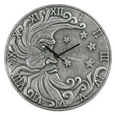 Stunning Silver Effect Moon Terracotta Clock - 30cm - Pagan