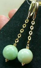 NATURAL APPLE GREEN CHRYSOPRASE ROUND BEAD 14K SOLID GOLD LEVERBACK EARRINGS