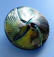 LARGE Vintage Iridescent Depression Glass Button Aurora Blue Green Purple