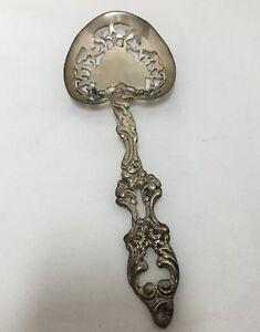 Sterling Silver Server Spoon Pierced Ornate Repousse Vegetable Casserole vintage