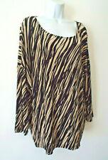 ***CHICO'S Traverlers Sz 3/L-XL knit Tunic TOP black tan!!