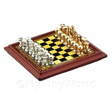 Dolls House Miniature Wood Effect chessboard with metal playing pieces