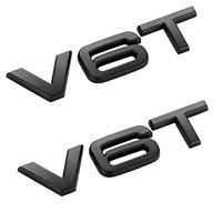 2 x Black V6T Glossy Car Styling Fender Badge Emblem For All Audi Models
