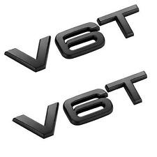 2 x Black V6T Glossy Car Styling Fender Badge Emblem For All Audi Models