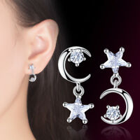 925 Sterling Silver Earrings Women Crystal Star Moon Style Fashion Jewelry