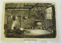 1883 magazine engraving ~ AN AFRICAN KITCHEN