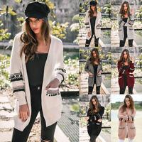 New Women Long Sleeve Knitted Cardigan Casual Sweater Pocket Outwear Coat Jacket