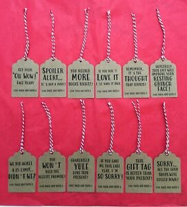 12 Personalised Handmade Kraft Card Funny Christmas Gift Tags Candy Cane Twine