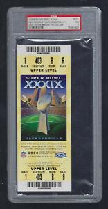 PSA NMT 7 - VINTAGE 2005 NFL SUPER BOWL XXXIX FULL TICKET PATRIOTS - TOM BRADY