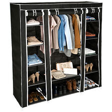 Triple fabric canvas cupboard wardrobe shelf storage with clothes rail textile