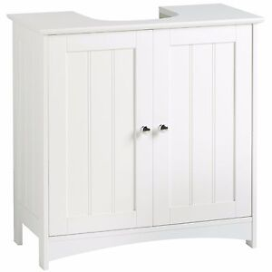 VonHaus Under Sink Bathroom Cabinet | White Under Basin Storage Unit with Shelf